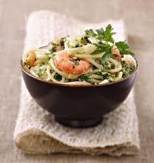 cuisine coriandre spaghettis au pesto de coriandre crevettes et gingembre les