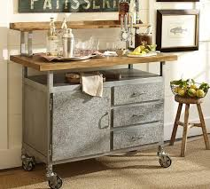 industrial kitchen furniture style steel and wood table cart