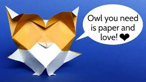 origami baby owl snow owl easy diy tutorial youtube