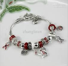 diy bracelet with charm images Hot sale diy beaded silver beads red hope dancer charm bracelet jpg