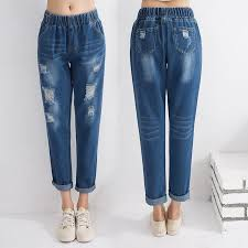 summer style capri 2018 wholesale summer style women ripped denim capri pants elastic