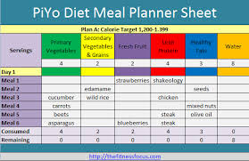 Meal Plan Excel Template Plan Shop And Succeed On The Piyo Diet With Printables