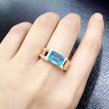 topaz gemstone rings images Natural blue topaz stone ring natural gemstone ring s925 sterling jpg