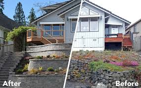 tiered retaining wall on lake lawrence near yelm ajb landscaping