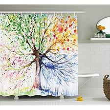 Navy And Red Shower Curtain Amazon Com Four Seasons Shower Curtain Berry Green Red Yellow
