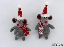 set of 2 country mouse ornaments 7 w scarf hat tree