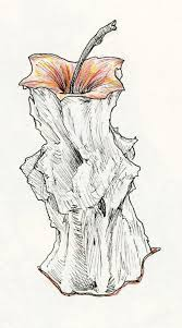 drawn apple apple core pencil and in color drawn apple apple core