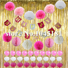 White Curtains With Pom Poms Decorating Happy Birthday Decorations Pink White Gold Foil Curtain