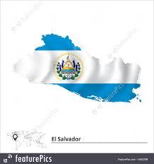 Flag El Salvador Flags Map Of El Salvador With Flag Stock Illustration I4502798