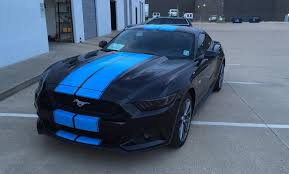 Black Mustang With Stripes Grabber Blue Stripes On 2015 Ford Mustang Gt Fastback Are A Must
