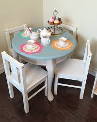tea party table makeover with chalk paint a purdy little house