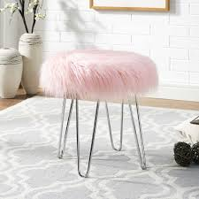 Vanity Stools Benches Faux Fur Stool Bench Chair Blush Vanity Seat Ottoman Fabric Cover