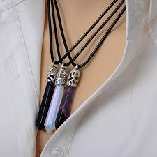 stone pendant necklace wholesale images Docona natural quartz pendant stone hexagonal pendant necklace jpg