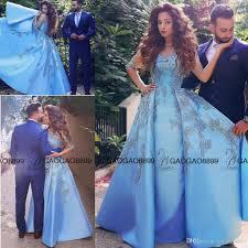 elegant baby blue prom dresses 2016 lace appliques half long