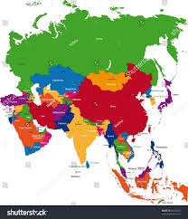 asia map colorful asia map countries capital cities stock illustration