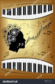 halloween themed keyboard background musical theme piano keyboard silhouette face stock vector
