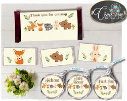 woodland baby shower candy bar decoration wrappers and labels
