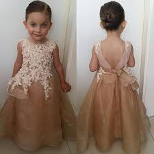 champagne color flower dresses with floral appliques open