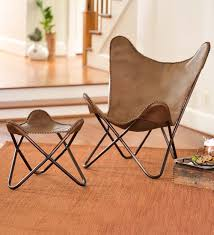 leather butterfly sling chair and ottoman chairs home