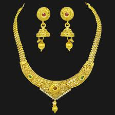gold plated fashion necklace images Temple designed colored stone and gold plated necklace earring jpg