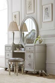 cute bedroom vanity table used oval wall mirror and round chair