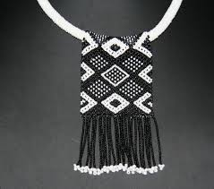 black necklace white images African zulu love letter choker necklace black white floral JPG