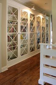 Bookcases With Lights Built In Bookcases With Glass Doors Family Room Transitional With