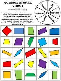 quadrilaterals quadrilateral quest game and practice sheet