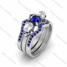 skull wedding ring sets skull engagement ring wedding band set blue sapphire bridal