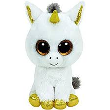 ty beanie boo plush pegasus unicorn buddy 24cm white gold