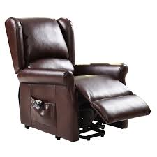 Lift Chair Leather Brown Electric Lift Chair Recliner With Remote Control Arm