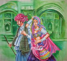 rajasthani couple painting by ruta sawant