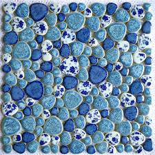 Bathroom Floor Mosaic Tile - design tst porcelain pebbles fambe blue u0026 white heart shape