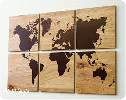 wood grain world map screen print large wall rustic home