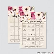 boho baby shower bingo cards printable blank bingo cards and