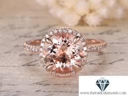morganite engagement ring gold 9mm cut morganite engagement ring gold diamond pave