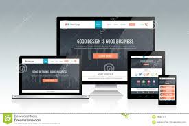 responsive design template responsive website template on devices stock vector