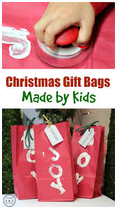 how kids can make gift wrap using paper bags