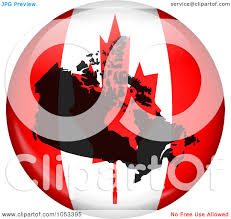royalty free clip art illustration of a canadian flag globe with a