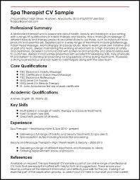 Sample Resume Skills And Qualifications by Spa Therapist Cv Sample Myperfectcv