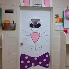 easter door decorations here comes the easter bunny door display