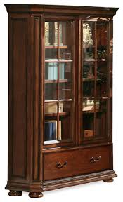 Cherry Wood Bookcase With Doors Riverside Cantata 76 Inch Glass Door Bookcase Traditional