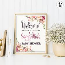 boho baby shower welcome sign personalized cottage chic baby