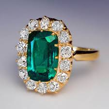 vintage emerald engagement rings antique 2 62 ct emerald diamond cluster ring antique jewelry