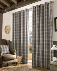Tartan Drapes Grey And Cream Tartan Check Eyelet Curtains Homescapes