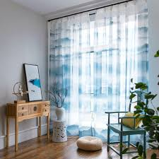 Patterned Sheer Curtains Blue And White Graceful Patterned Sheer Curtains