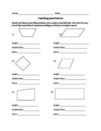 a worksheet that reviews the attributes of quadrilaterals can be