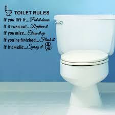 toilet rules bathroom removable wall sticker vinyl art decals diy black