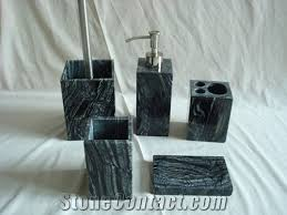 china antique black wooden vein marble bath accessories sets