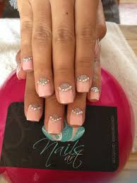Light Pink Acrylic Nails Light Pink Acrylics With Clear Crystals Fmag Com